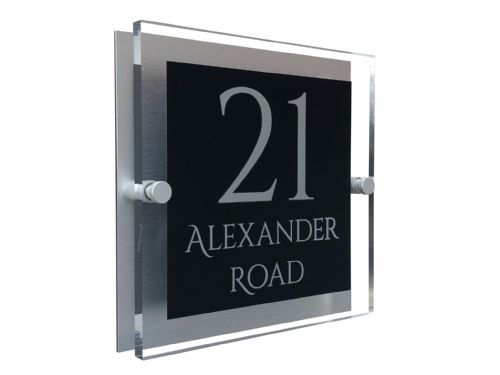 Block Shape - Clear Acrylic House Sign - Black Colour with Silver text in Font  1